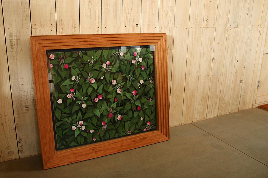 油彩キャンバス作品を飾る箱型の無垢の木ブラックチェリーの額縁(立体額)
