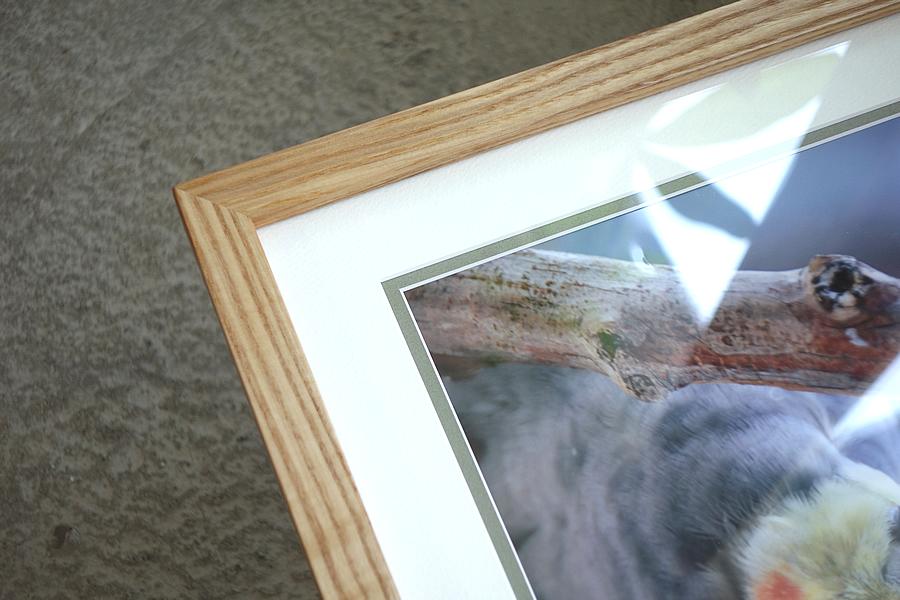 贈る写真を飾る無垢の木タモの額縁